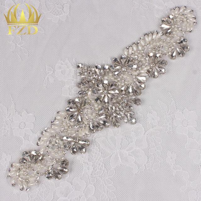 (30pieces) Hot Fix Iron Beaded Bridal Sew On Custom Wholesale Sequin Applique  Crystal Rhinestone Applique for Bridal Sash 58d3caf8f09f