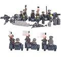 6 unids figuras de soldados del ejército con bloques de construcción de armas gun rayo asalto ametralladora campamento modelo compatible con lego