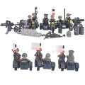 6PCS figures Army soldiers with Weapon Gun Building Blocks Lightning Assault Machine Gun Camp Model Compatible with Lego
