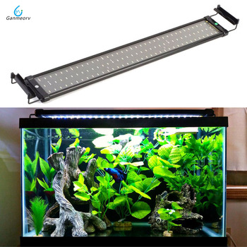 75~95cm Aquarium light Fish Tank Light Lamp with Extendable Brackets 90 White and 18 Blue LED light for Aquarium Lighting