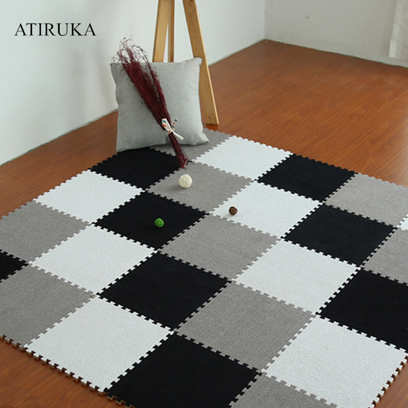 New Suede Mat Puzzle Children Carpet EVA Foam Interlock Floor Tiles Alfombra Infantil Children's Mats 30X30cm Tapete Infantile