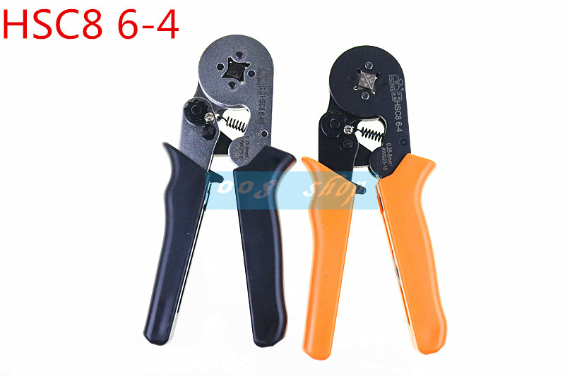 Free shipping HSC8 6-4 0.25-6mm 23-10AWG,10S 0.25-10mm 23-7AWG terminal crimping Plier crimp Plier tool tube terminals crimper 6 50mm2 crimp copper tube terminal crimping crimper tc 385