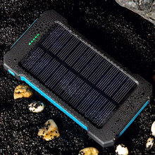 Wopow  Solar Power Bank30000mAh Portable Dual USB Compact Waterproof Powerful LED Light  External Battery Charger With Hook