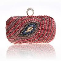 2018 Vintage Hand beaded Sequined Evening Bag High Grade Peacock Feather Evening Clutch Purse Dress Chain Clutch Handbag WY51