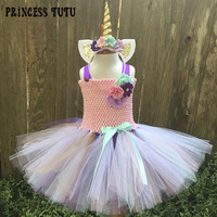 Rainbow Bustle Unicorn Tutu Dress Girl Birthday Party Flowers Pony Cosplay Tutu Dresses School Day Costume