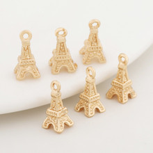 6PCS 5x10MM 24K Champagne Gold Color Plated Brass Eiffel Tower Charms Pendants High Quality Diy Jewelry Accessories