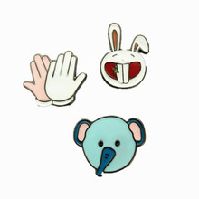 free shipping  men and women drop clap / Rabbit / elephant cute coat Brooch  set