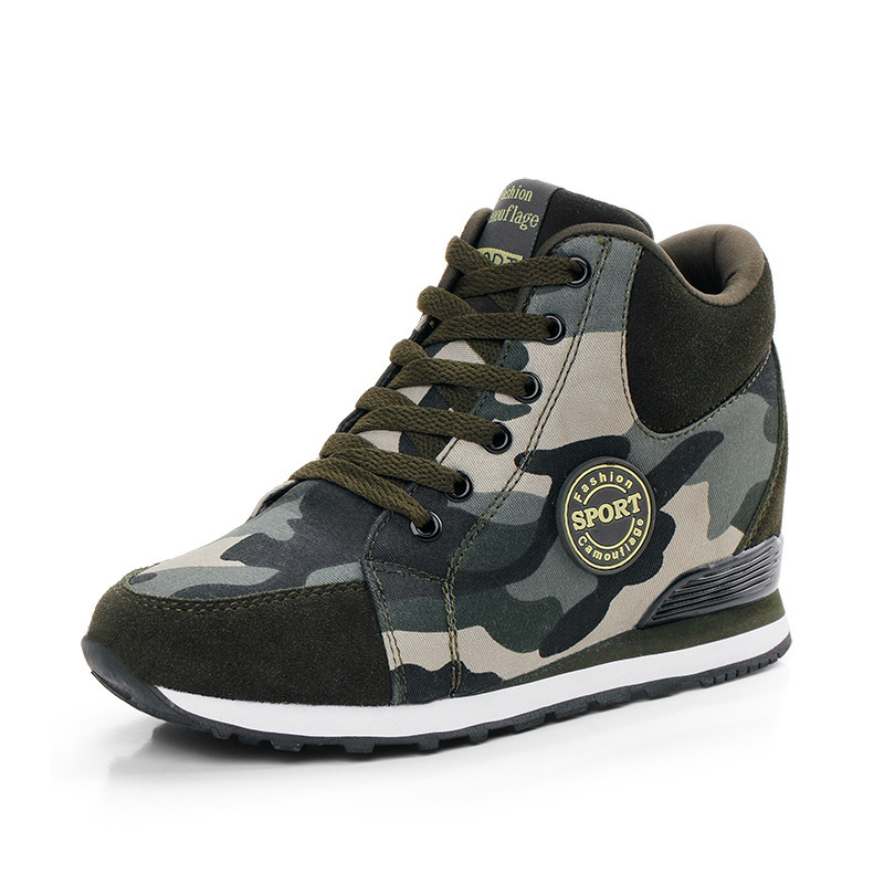 NASBAVI 2019 Spring Fashion Lace Up Canvas Women Shoes Army Green Camouflage Wedge Platform Sneakers Women Casual Shoes Autumn