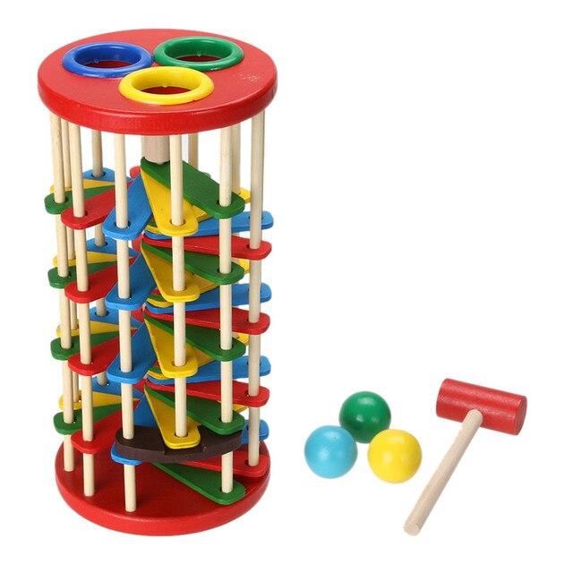 Golpear La Bola En La Escalera de Lujo Libra Y Rollo Torre Creatividad Desarrollo Educativo de Múltiples Funciones Juguetes de Madera Para Niños Juguetes de Regalo