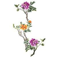 Very Big quality peony flower patch embroidery peony cloth sticker applique DIY no glue hand sewn type applique for clothing