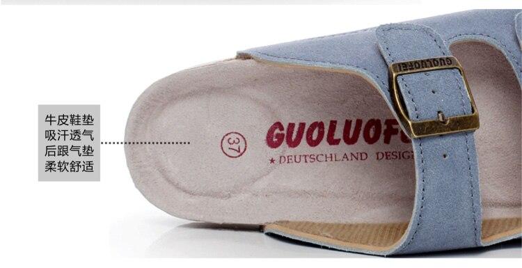 Été hommes vache daim cuir Mule sabots pantoufles haute qualité souple liège deux boucle diapositives chaussures pour hommes femmes unisexe 35-46 2