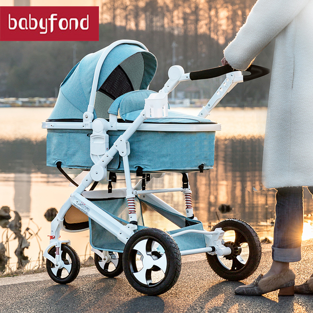 2019 aluminium Kinderwagen Kan Zitten en liggen wandeling Vouwen Hoge Landschap Baby kinderwagen 2 in 1 kinderwagen 1