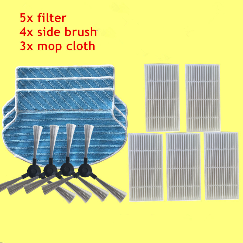 Replacement Kit for Proscenic 790T Hepa Filter x5+ Side Brush x4+ Mop Cloth x3 Robot Vacuum Cleaner Parts 5 pieces lot robot vacuum cleaner parts hepa filter for proscenic 790t