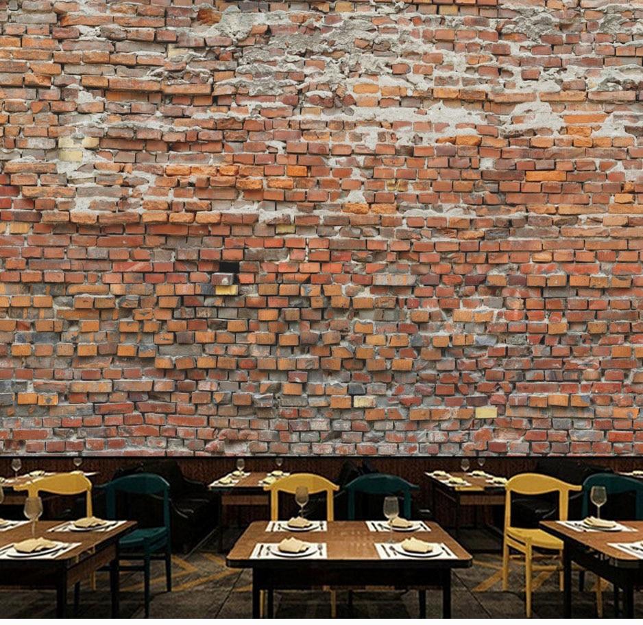 Bacaz Custom Red 3D Bricks Wallpaper Murals for Restaurant ...