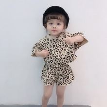 2019 New Summer Baby Girls Short Sleeve Leopard Print T-shirt Tops+Shorts Suits Casual Outfits Sets цена 2017