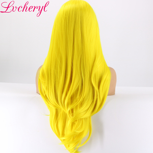 Image 4 - Lvcheryl Yellow Color Natural Straight Hand tied Heat Resistant Hair Synthetic Lace Front Wigs for Cosplay Drag Queen Make up