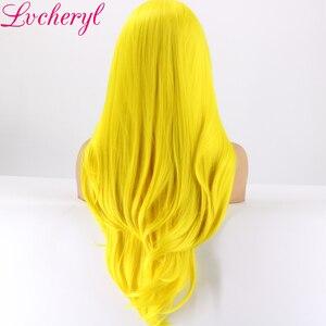 Image 4 - Lvcheryl, желтый цвет, Натуральные Прямые, ручная работа, термостойкие волосы, синтетические кружевные передние парики для косплея, Drag Queen, макияж