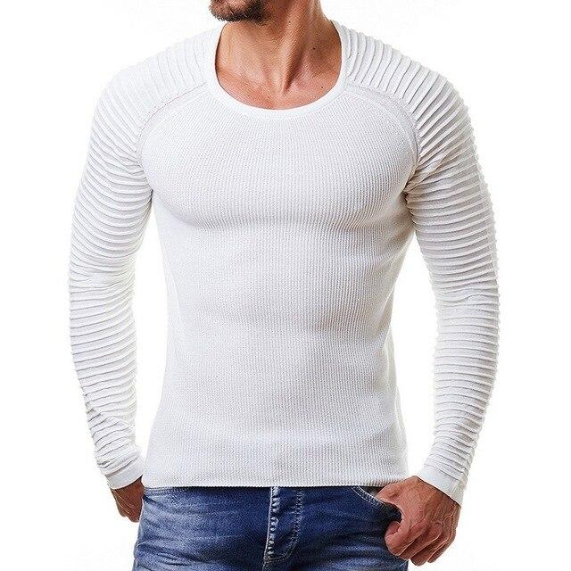 Laamei 2019 חדש גברים סרוג סוודר סתיו חורף אופנה מותג בגדי גברים של פסים סוודרים מוצק צבע Slim גברים סוודר