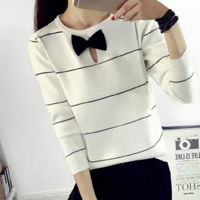 2018 women high elastic crop sweater bow ties long sleeve women sweaters knitte women winter coat plus size pullovers black top ...