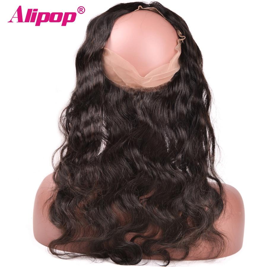 """[ALIPOP] Προπλήρωσε 360 Lace Μετωπιαία Κλείσιμο Με Μαλλιά Μαλλιά Βραζιλιάνα Body Wave Remy Ανθρώπινα Μαλλιά 8 """"-22"""" Φυσική Γραμμή Μαλλιών"""