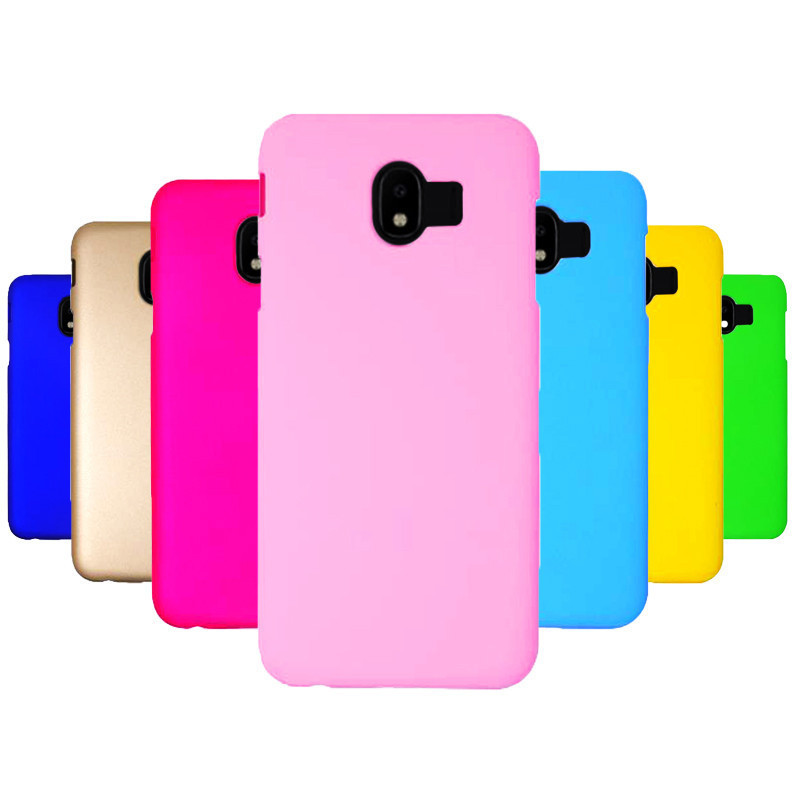 Phone Case sFor Fundas Samsung Galaxy J4 2018 case For Coque Samsung J6 2018 Candy Color Hard plastic PC cover phone cases in Half wrapped Cases from Cellphones Telecommunications