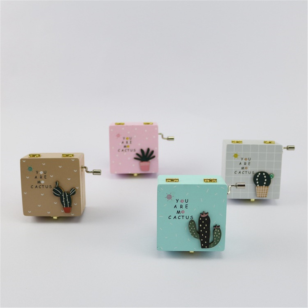 Cosplay cute mini cactus wooden hand music box  box mirror child adult birthday gift christmas gift
