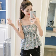цены Sweet Women Spaghetti Strap Top Female Lace Up Tops Women Sleeveless Floral Print Camisole