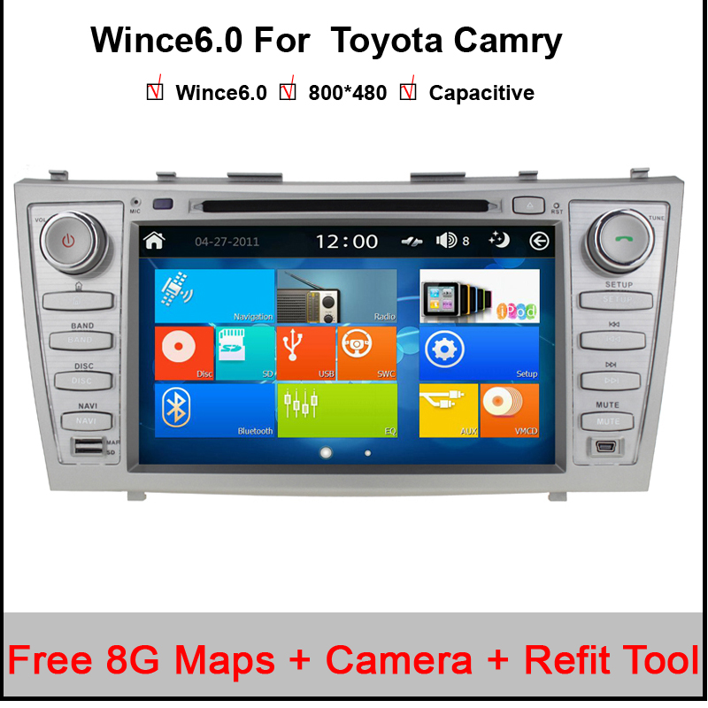 8″ Capacitive Car DVD GPS Navigation for Toyota Camry 2006-2011 FCC/CE/ROHS Certified with BT Radio Support 1080P Video Play
