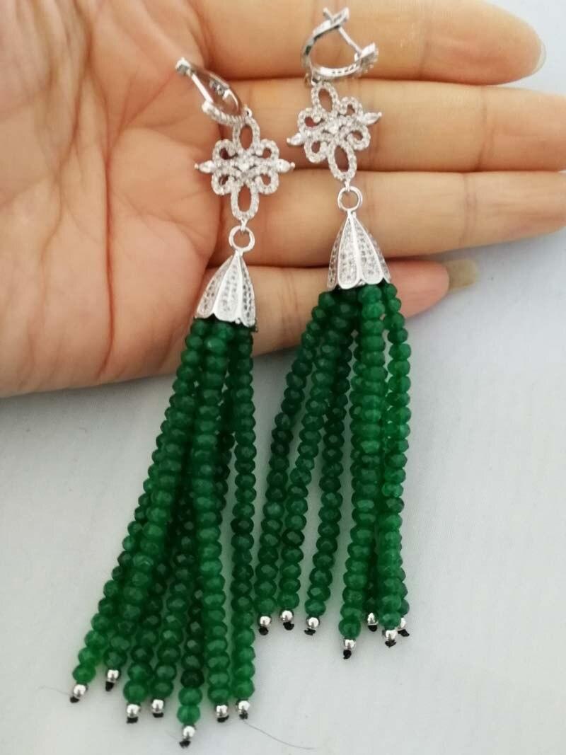 Une paire vert/rose rouge jade tassell boucles d'oreilles rondelle avec facettes 4*2mm 110mm FPPJ gros perles nature