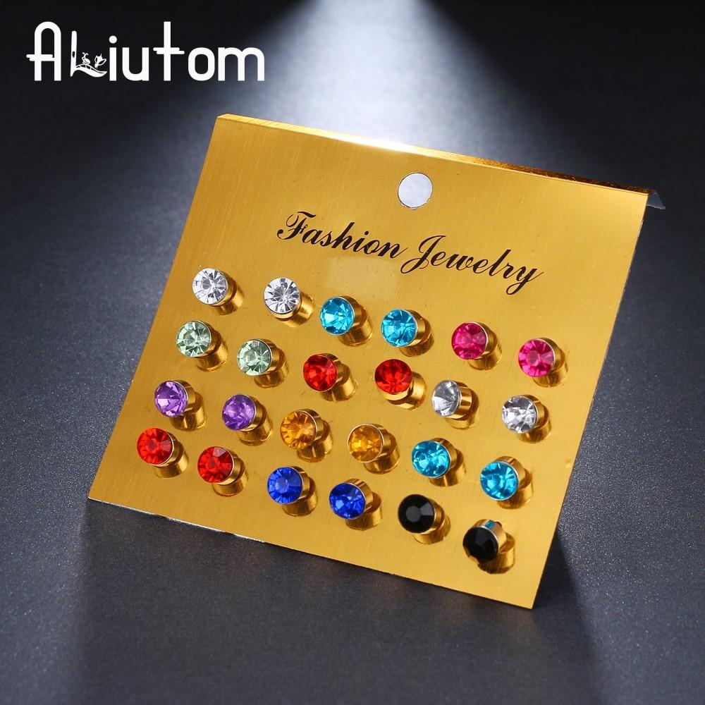 12 pairs/set Colorful Crystal Stud Earrings Set For Women Jewelry Rhinestones Piercing Earrings kit Pack lots Bijouteria brincos