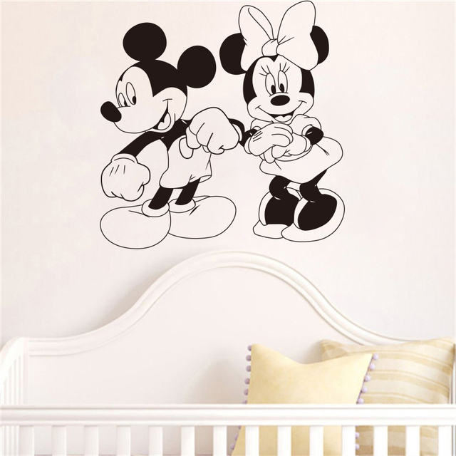 mickey mouse and minnie mouse cartoon characters dancing wall