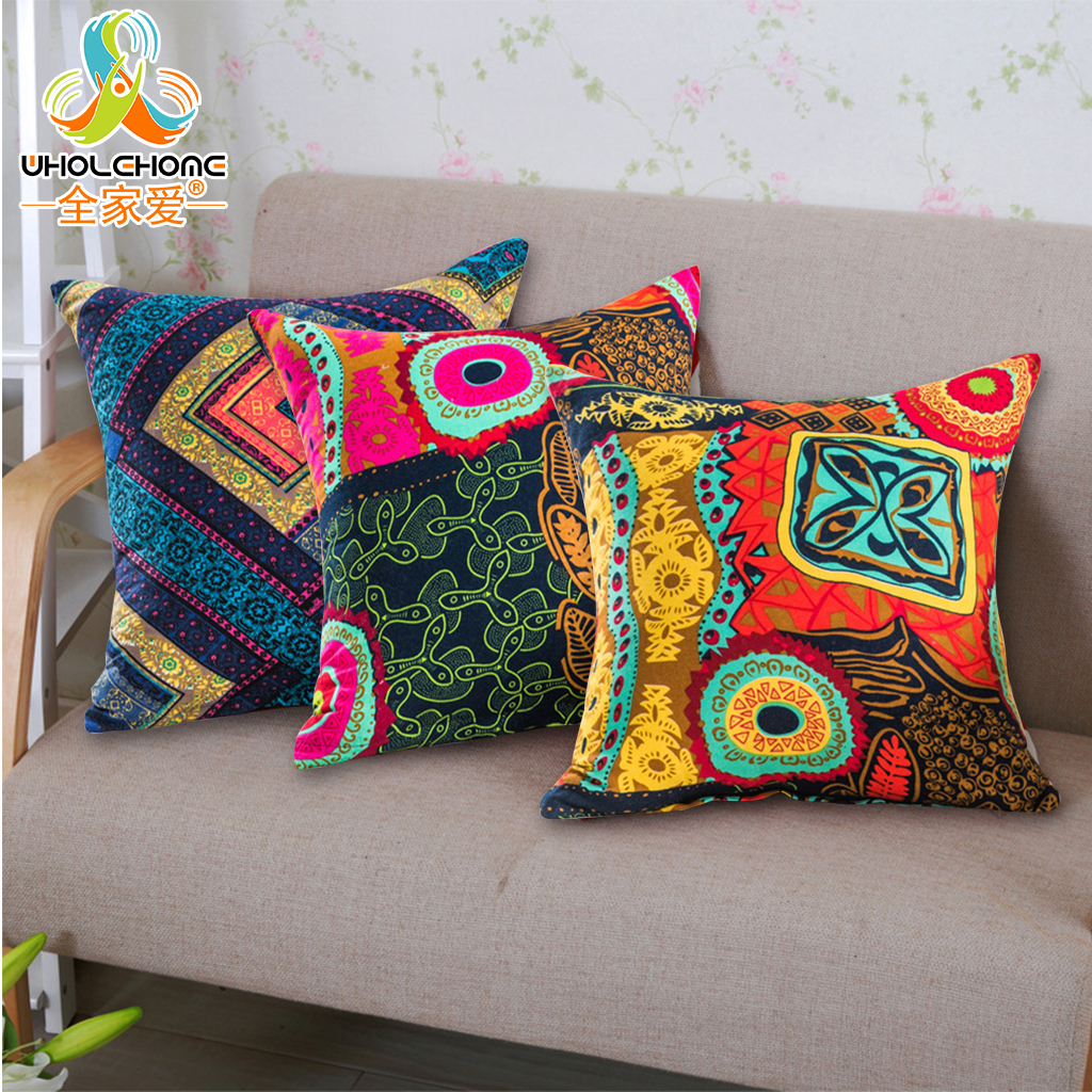 Mediterranean Style Cushion Cover 45*45cm Cotton Linen Decorative Throw Pillow Case Ethnic Multi Colors Home Sofa Cushion Decor
