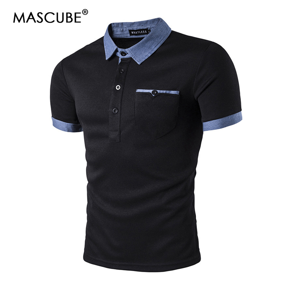 MASCUBE   Polo   Shirt Men   Polo   Homme 2019 Patchwork Single Breasted Mens   Polo   Shirt Short Sleeve Turn Down Collar Slim Fit Camisas