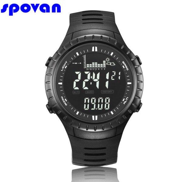 SPOVAN Numérique de Montre Hommes Étanche Sport Horloge Hommes Baromètre Altimètre Thermomètre Chronomètre Montre-Bracelet Relogio Masculino