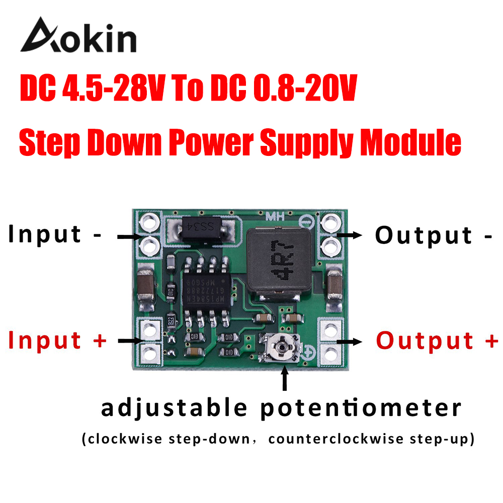 Ultra-Small Mini DC-DC Step Down Power Supply Module 3A Adjustable Buck Converter for Arduino Replace LM2596 24V to 12V 9V 5V 3V