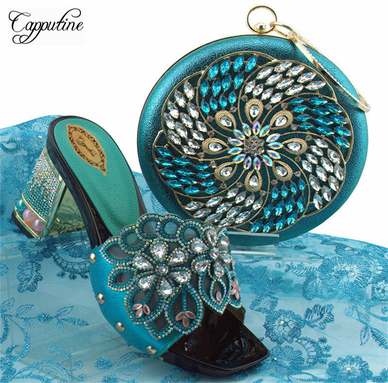 Capputine New Arrival Rhinestone Women Shoes And Purse Set African Summer High Heels Shoes And Bag Set For Party Dress YK-002
