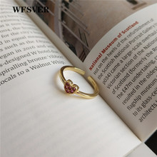 WFSVER korea style 925 sterling silver ring for women gold color simple heart-shaped ring opening adjustable fine jewelry gift