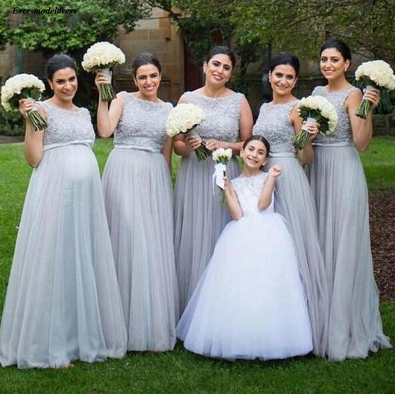 Long   Bridesmaid     Dresses   2019 Scoop Sleeveless Floor Length Appliques Wedding Guest Party Gowns Maternity Gown vestido madrinha