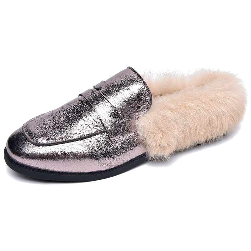 Moxxy Winter Bling Leather Flats Fur Slippers Women Fur Shoes Autumn Warm  Plush Mules Rubber Low Heels Women Loafers Slides-in Women s Flats from  Shoes on ... 3ca1deac9ef1