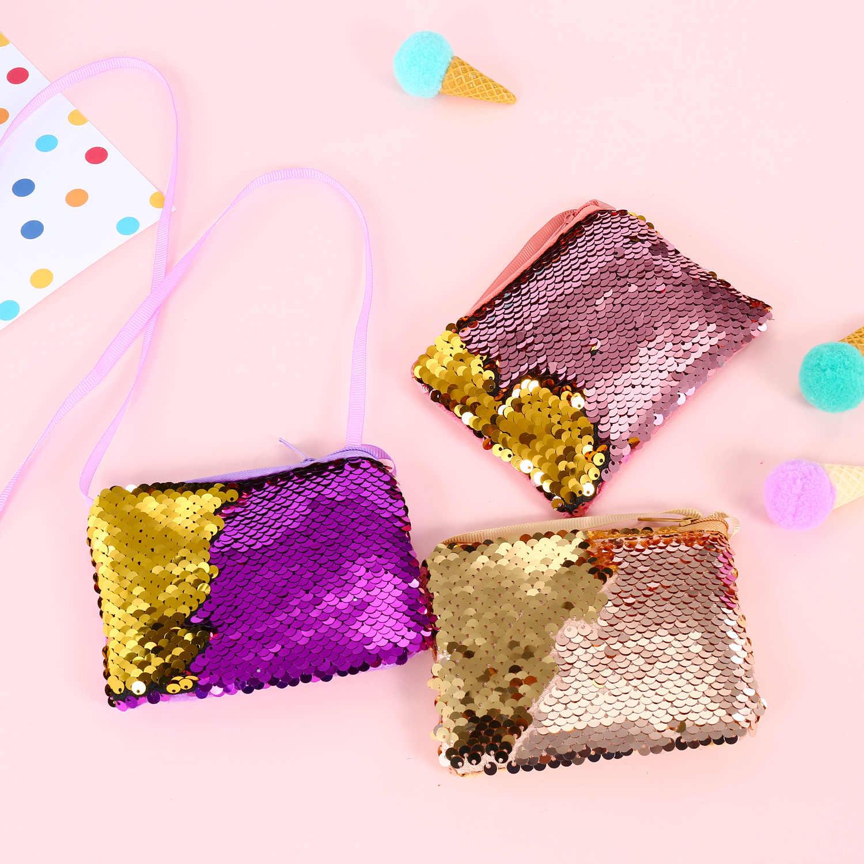 2019 NOVA Moda Crianças Coin Purse Mini Carteira de Moedas Paillette Sereia Lantejoulas Sacos de Dinheiro Mudança Carteiras Presente Do Miúdo Dos Desenhos Animados