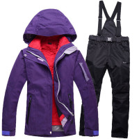 Cheap Purple Color Woman Snow Suit Sets Snowboarding Clothes Waterproof Skiing Costumes Winter Outdoor Skiing Jacket