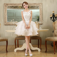 2017 New Arrival Short Wedding Dress White Elegant Fashion Design Ball Gown With Button Back Zipper