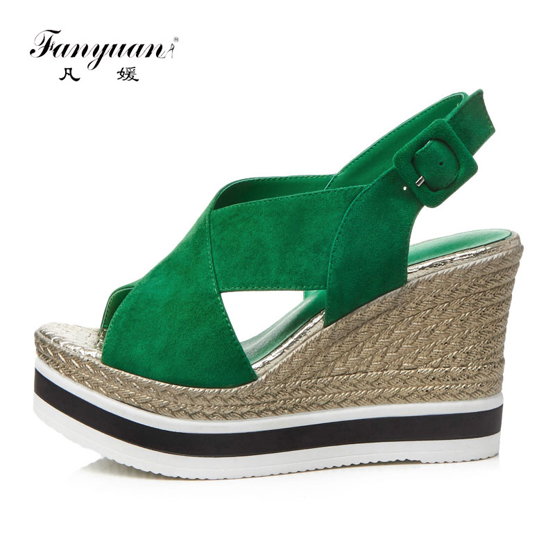 Fanyuan Suede Wedge Sandals Women High Heel Platform Sandals Cross Strap Barefoot Shoes Roman Womens Wedge Shoes Summer Black criss cross platform wedge sandals