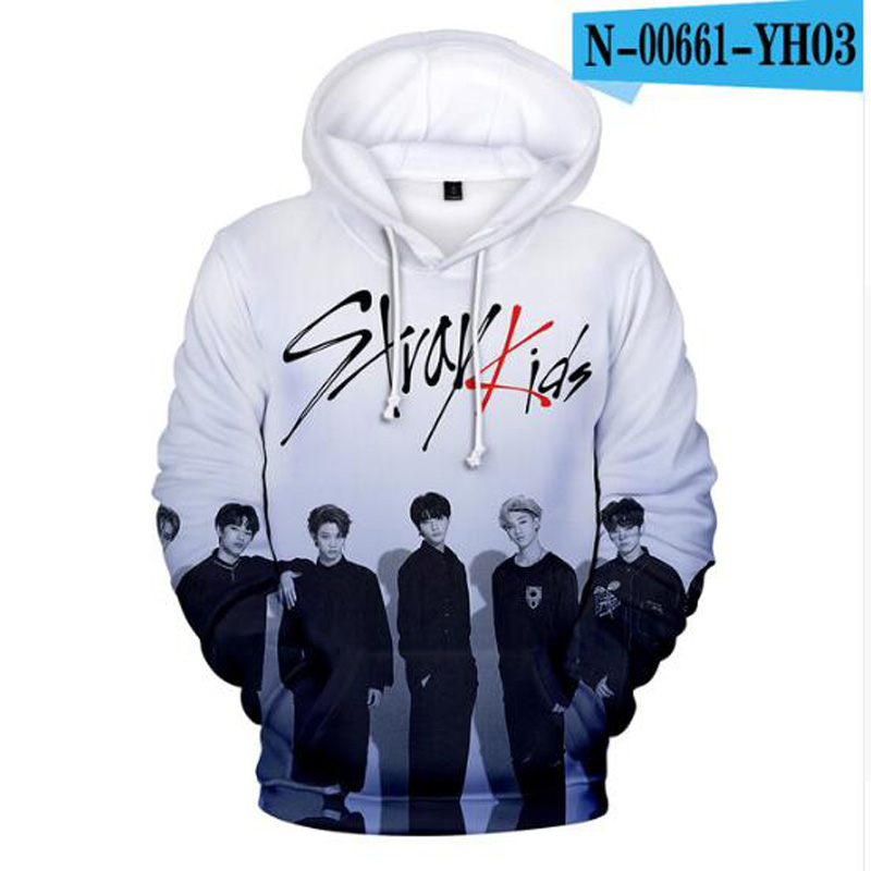 Stray Kids Pullover Stylish Hooded Sweatshirt 3D Printing Long Sleeve Tops Popular Pullover Unisex