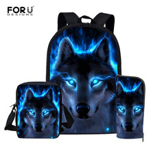 FORUDESIGNS Cool Wolf Backpack for Teen Boys Girls Book Bags
