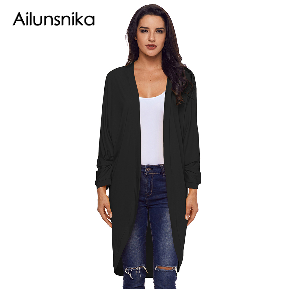 Ailunsnika 2018 New Arrival Winter Womens Casual Relaxed Fit Long Cardigan DL85133 women Femme Favourite