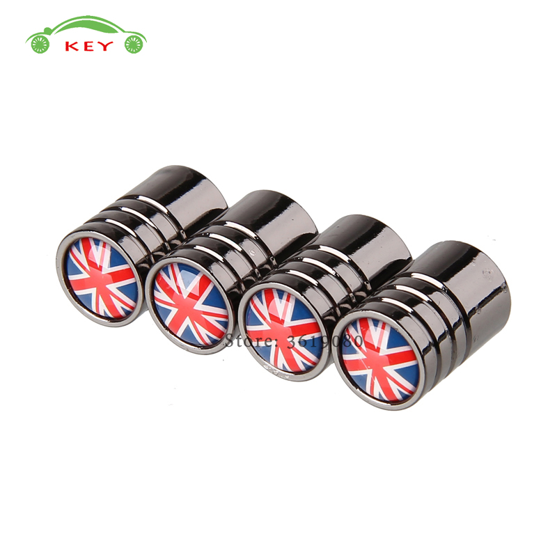 For Flag of UK Logo Stainless Steel Auto Tire Valve Caps for Ferrari BMW E46 Ford fiesta VW Golf Wheel Stem Covers Car Styling