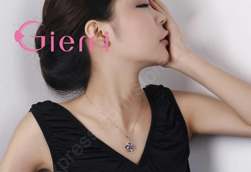 Feine Frauen Geschenk Set Schöne Blume mit CZ Zirkon Reinem 925 Sterling Silber Halskette Ohrringe Hochzeit Schmuck für Bräute