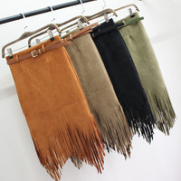 Winter Women Skirt Faux Leather Fringe Sexy Tassel Suede Skirt Ladies Asymmetrical Office Package Hip Skirts Saia Fenimias LZ26