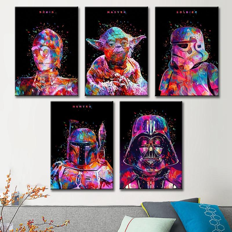 Star Wars 7 arte minimalista cartel de alta definición pintura Darth Vader Stormtrooper película impresión de imagen de pared Home Art Gran tamaño hecho a mano cuchillo grueso pintura al óleo abstracta oro gris blanco precioso pintura abstracta pintura al óleo de decoración para el hogar en lienzo